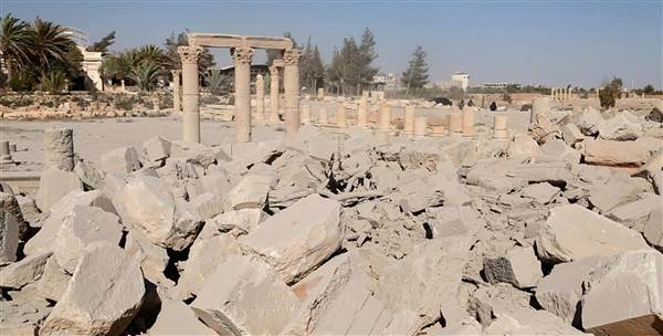 An image released by ISIS appears to show the ruins of the Baal Shamin temple. ISIS / via AFP - Getty Images