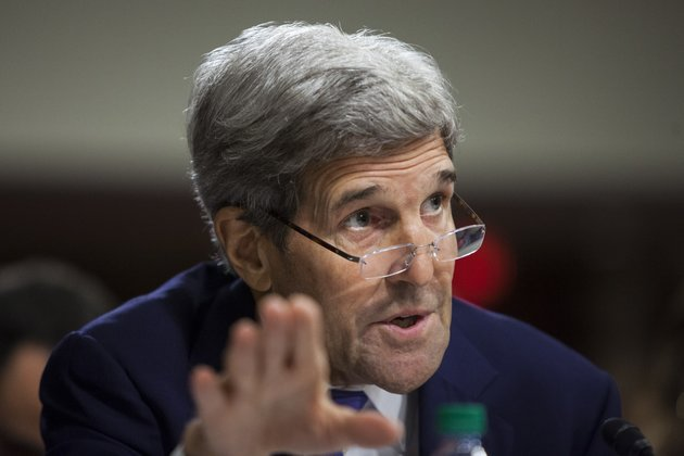 WASHINGTON, USA - JULY 29: Secretary of State John Kerry testifies during a Senate Armed Services Committee hearing on the impacts of the Joint Comprehensive Plan of Action on U.S. interests and military balance in the Middle East in Washington, USA on July 29, 2015. Secretary of Defense Ashton Carter, Secretary of the Treasury Jacob Lew, Secretary of Energy Ernest Moniz, and Chairman of the Joint Chiefs of Staff General Martin Dempsey are also testifying. (Photo by Samuel Corum/Anadolu Agency/Getty Images)