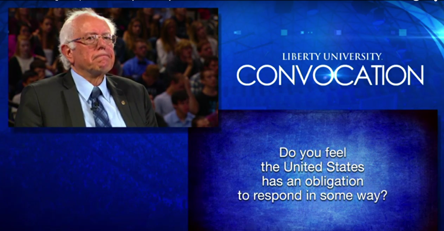 Bernie Sanders at Liberty University.