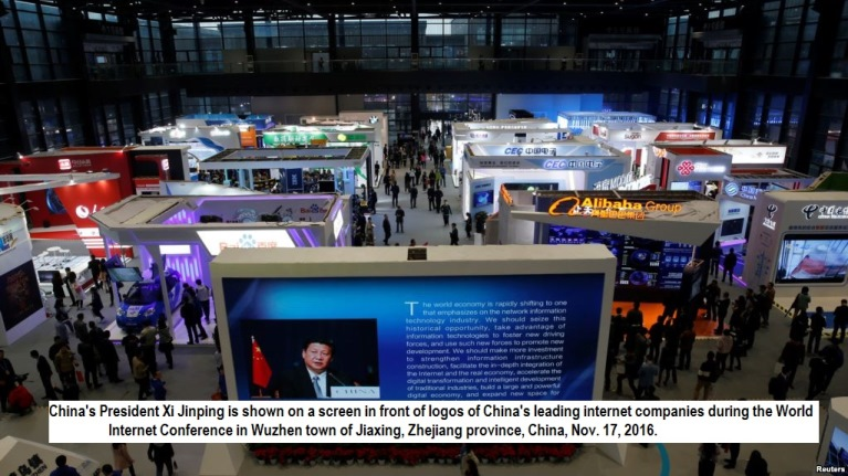 China's President Xi Jinping is shown on a screen in front of logos of China's leading internet companies during the World Internet Conference in Wuzhen town of Jiaxing, Zhejiang province, China, Nov. 17, 2016.