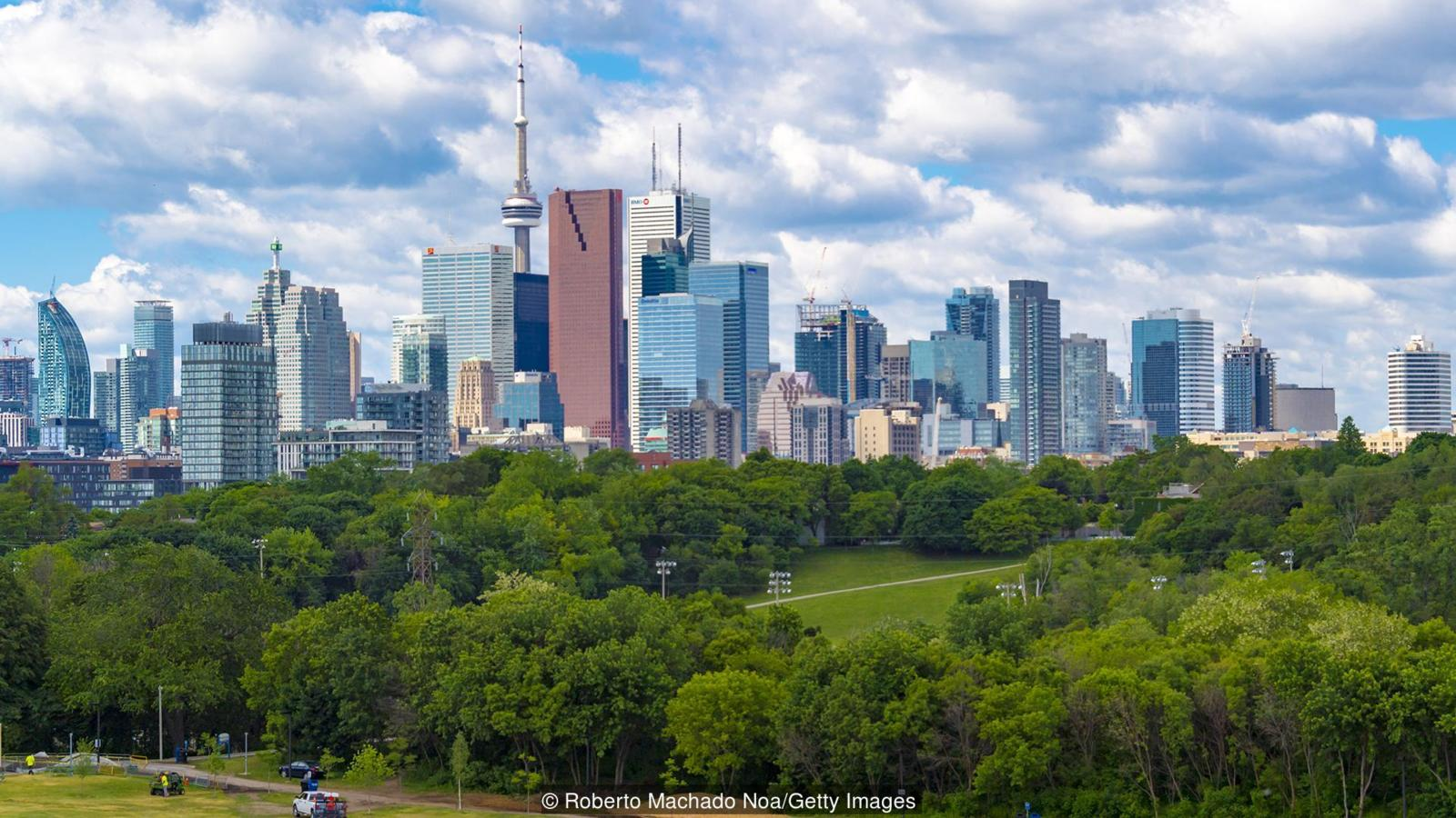 Insider view of Toronto skyline from Broadview Avenue in