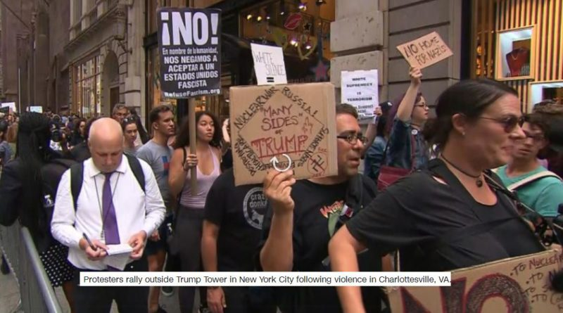 Trump greeted by protesters in New York