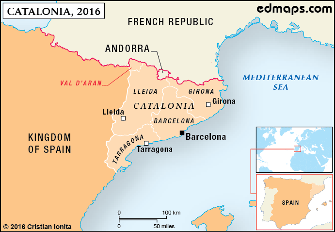 Map of Catalonia